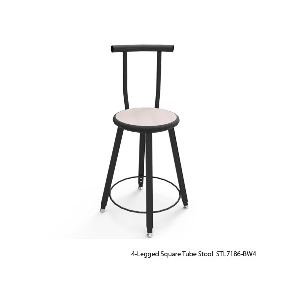 4-Legged Square Tube Stools with Welded-On Backrest