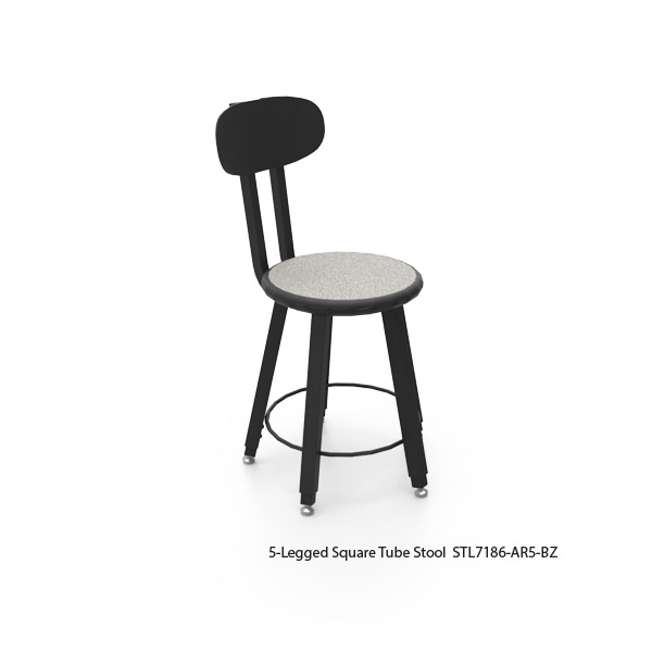 5-Legged Square Tube Stools with Bolt-On Backrest