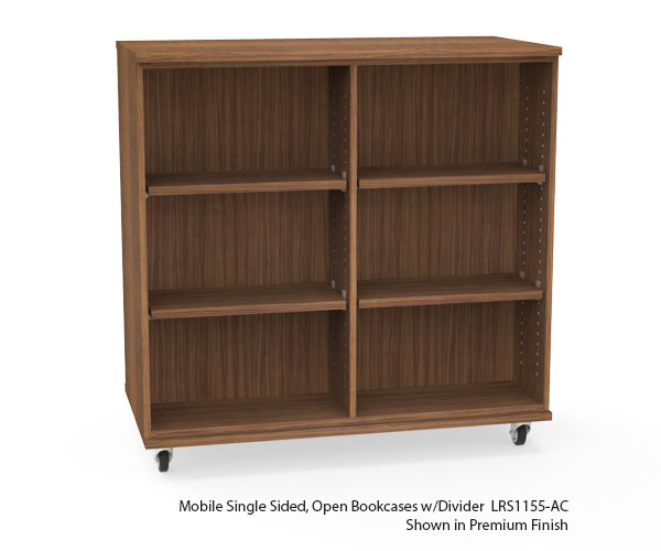 Mobile Single Sided Bookcases w/Divider